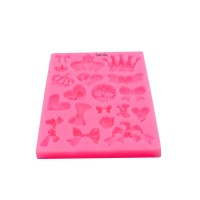 Sakolla Mini Silicone Sugar Fondant and Cake Mold Baby Shower Theme Pink Assorted Bows Crown Heart Silicone Mold craft Fondant Polymer Clay Crafting Projects Cake Decorating for Sugar